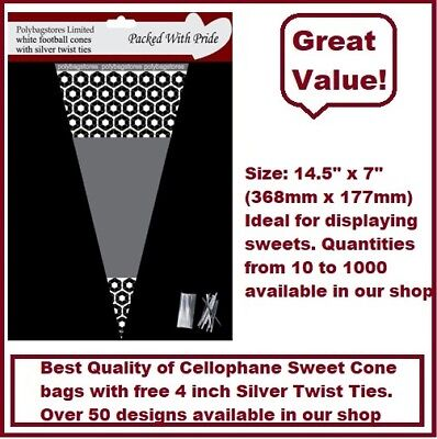 25 - WHITE Football Cone Cello Cellophane Sweet Party Bags With Silver Ties