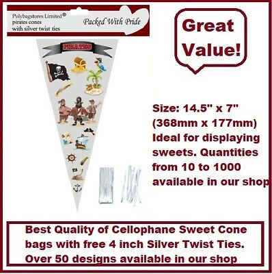 10 - Pirates Cone Cello Cellophane Sweet Party Bags With Silver Ties