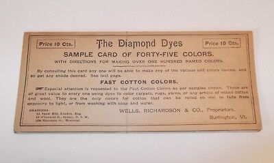 Vintage The Diamond Dyes Sample Card Of 45 Colors Wells Richardson Co Vt