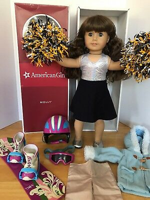 American Girl Molly Lot Doll Clothes Accessories Box Brown Hair Blue Gray Eyes
