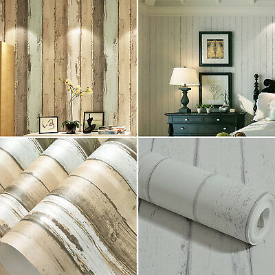 Realistic Wood Optic Plank Wood Panel Stripe Feature Textured Roll Wallpaper 10M