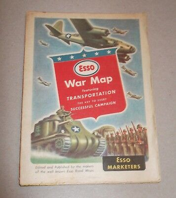 Vintage Esso World War II Map Featuring Transportation Tanks Planes (Lithograph)