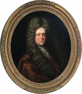 Portrait of a Gentleman Antique Oil Painting Sir Godfrey Kneller (1646-1723)