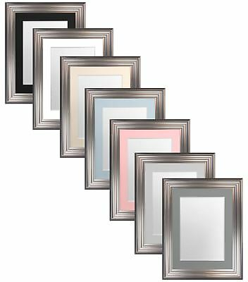Firenza Matte Silver Picture Photo Frame With Coloured Mounts
