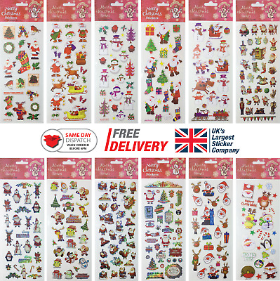 Fun Stickers Christmas Children Birthday Party Loot Bag Fillers Kids Decorating