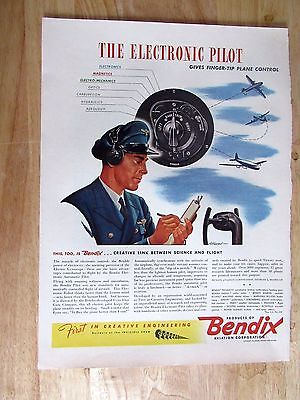 1943 Bendix Aviation  WWII Millitary Print Ad 10 x 14