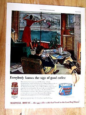 1951 Maxwell House Coffee  art 10 x 14 inch Print Ad