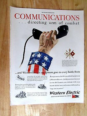 1940s   Western Electric Telephone  Military Print Ad 10 x 14
