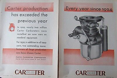 1930  CARTER Automobile Carburetor Print Ad