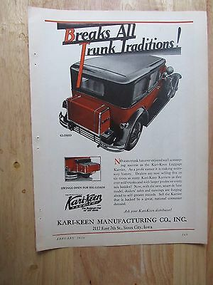 1930  KARI-KEEN Automobile Luggage Trunk Carrier  Print Ad