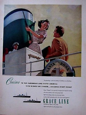 Vintage 50s Grace Lines Cruise Line Print Ad  10 x 13 in