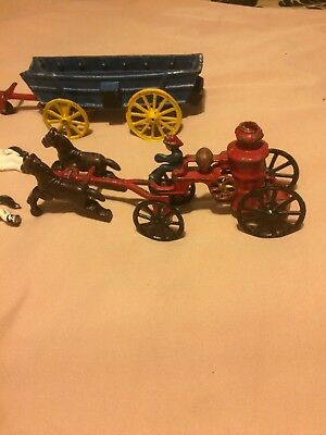 Vintage Cast Iron Old Horse Drawn Fire Engine Pumper w/ Driver + more