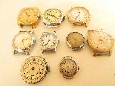 Job Lot Of Vintage Wrist Watches Swiss Made Inc Silver Case Spares Or Repair
