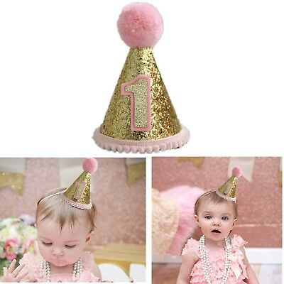 Gold Glitter Sparkle Princess 1st Birthday Cone Hat with Adjustable Headb... New