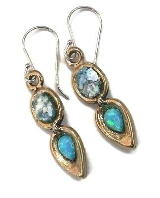 Roman Glass Ancient Fragments 200 B.C Gold P. Earrings Ancient Blue