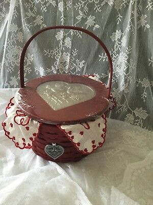 Nwt Longaberger 2005 Be My Valentine Basket Protector Liner With Embossed Lid