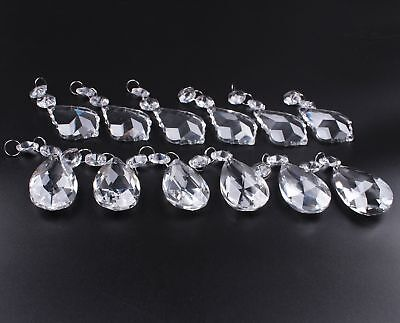 Antique Vintage Chandelier Crystals Glass Pack of 12 Clear Prisms Pendants Glass