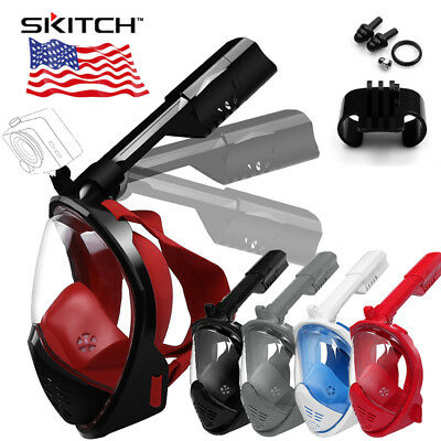 US Full Face Swimming Diving Mask Foldable Breather Pipe Snorkel Scuba for GoPro