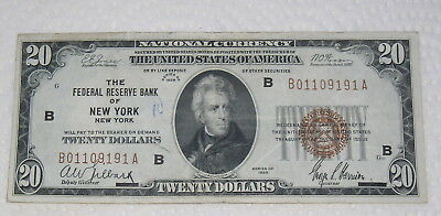 1929 $20.00 National Currency Federal Reserve Bank of New York FR 1870B F+