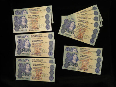 100x South Africa 2 Rand Banknotes 1980s including sequential groups