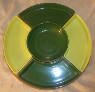Mid Century Modern Vintage GAILSTYN FOREST GREEN CHARTREUSE GLASS LAZY SUSAN Old