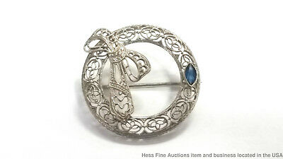 Antique 10k White Gold Victorian Pin Natural Sapphire Brooch