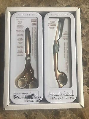 "NEW Centrix Roc-It Dog Titanium Limited Ed Rose Gold 5.75"" Shears & Razor $249"