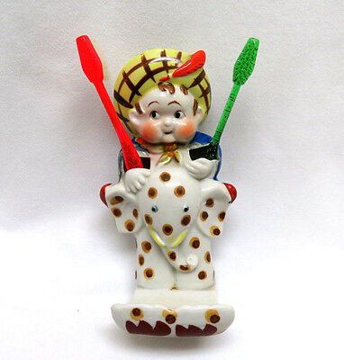 Vintage 1930's Japan Porcelain Figural Toothbrush Holder ~ Little Boy & Elephant