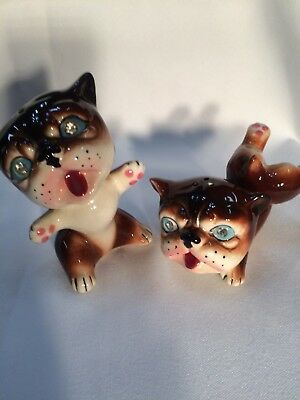 Vintage Anthropomorphic Salt & Pepper Shakers Rhinestone Eyes Bulldogs RARE