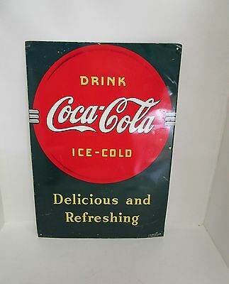 Sign Drink Cola-Cola Ice-Cold Delicious and Refreshing  Collectable  Vintage