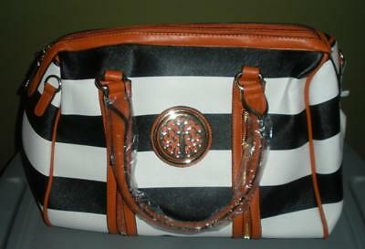 MKF COLLECTION Black/White Striped Overnight Satchel~~Roomy/Dual Zipper~~NWT!!