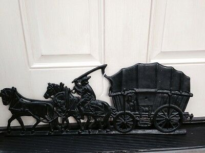 "Door Cast Iron Panel Carriage Horses Victorian 23""x9"" heavy G"