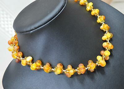 30g Beautiful Baltic Amber Necklace Vintage Old Honey Egg Yolk Butterscotch USSR