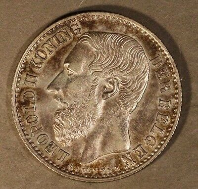 1887 Belgium Franc High Grade Silver Very Pleasant    ** FREE U.S. SHIPPING **