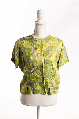Vintage Styled by Terry/Chicago Lime Green Print Crop Blouse Size M 1950s