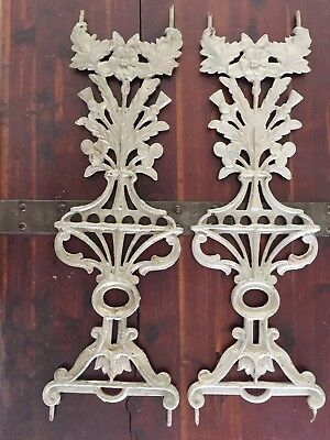 2 Antique 1800's Cast Iron Floral Widows Walk Fence Baluster Rail Pieces Salvage