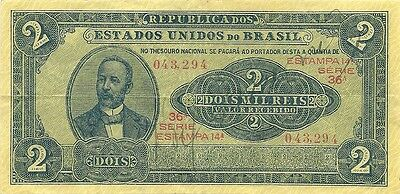 Brazil Brasil 2 Mil Reis 1921 Issue - P-16 - Nice Crispy Paper - Lovely Note !