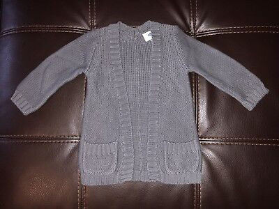Brand New Old Navy Baby Girls Gray Long Sleeve Cardigan — Size 18-24 Months