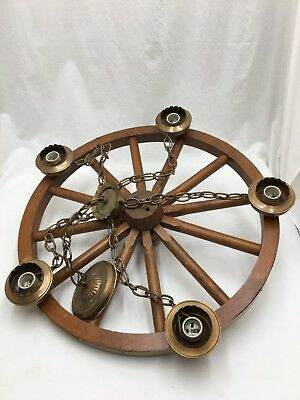 Vintage Western Primitive 5 light Wagon Wheel Chandelier Ceiling Fixture 24""