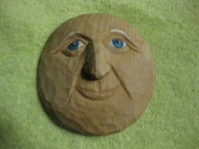 Hand Carved Wood Moon Face**wall Hanging**signed**nice Folk Art