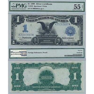 1899 $1 Black Eagle Silver Certificate Fr#236 PMG About Uncirculated 55 Net