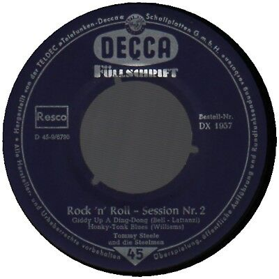 """♫ 7"""" EP 1950s Tommy Steele ROCK ´n´ ROLL SESSION No. 2 Decca DX 1957 GERMAN VG ♫"""