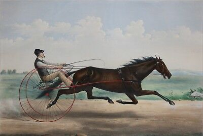 CURRIER & IVES, by THOMAS WORTH -Hand Colored Lithograph-LULA BAY MARE