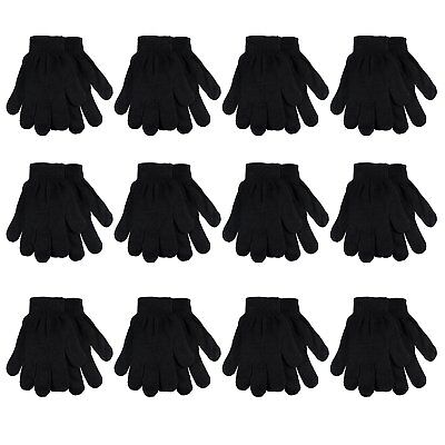 Gelante Adult Winter Knitted Magic Gloves Wholesale Lot 12 Pairs - 9905-Black