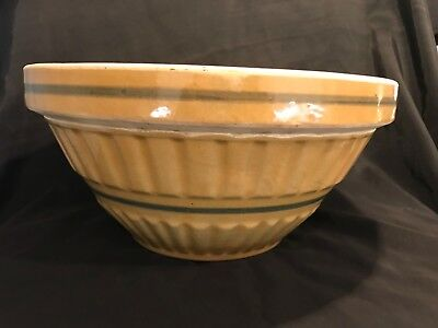 Very Rare Large 12 Inch Blue Banded Bowl Yellow Ware
