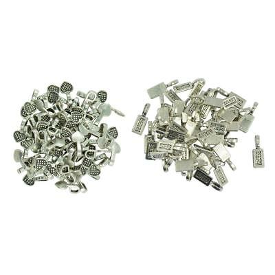 150pcs Antique Silver Rectangle Heart Glue on Bails Setting Craft Tag Bails