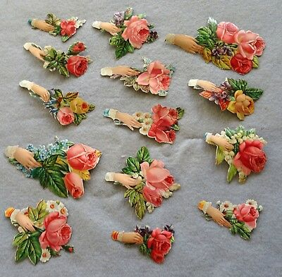 Collection of Antique Original Victorian Paper Scraps of Hands Holding Flowers