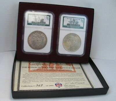 NGC Certified BINION SILVER MORGAN & PEACE Limited Edition Collection. Box & COA