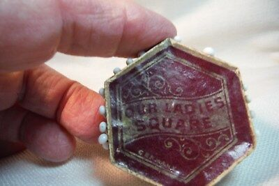 Two Octagon Shaped Wooden Pin Safes/Holders - Our Ladies Square- German