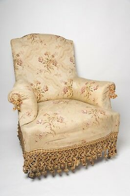 Antique French Napoleon III Chair, 19th Century, Original Fabric, Upholstery
